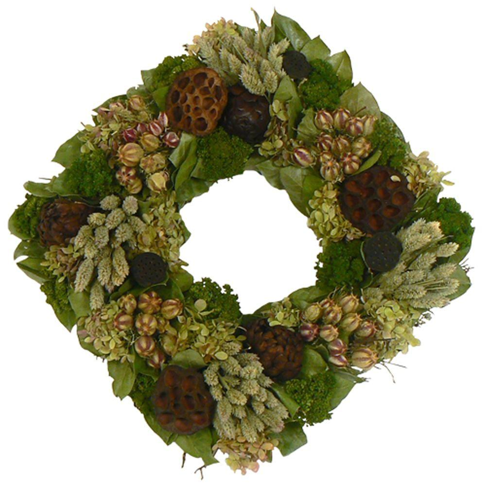 The Christmas Tree Company Lotus Lagoon 16 in. Dried Floral Square Wreath-DISCONTINUED