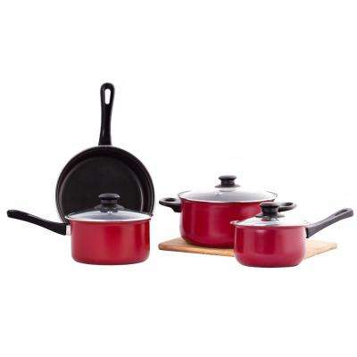 7-Pieces Nonstick Red Carbon Steel Cookware Set