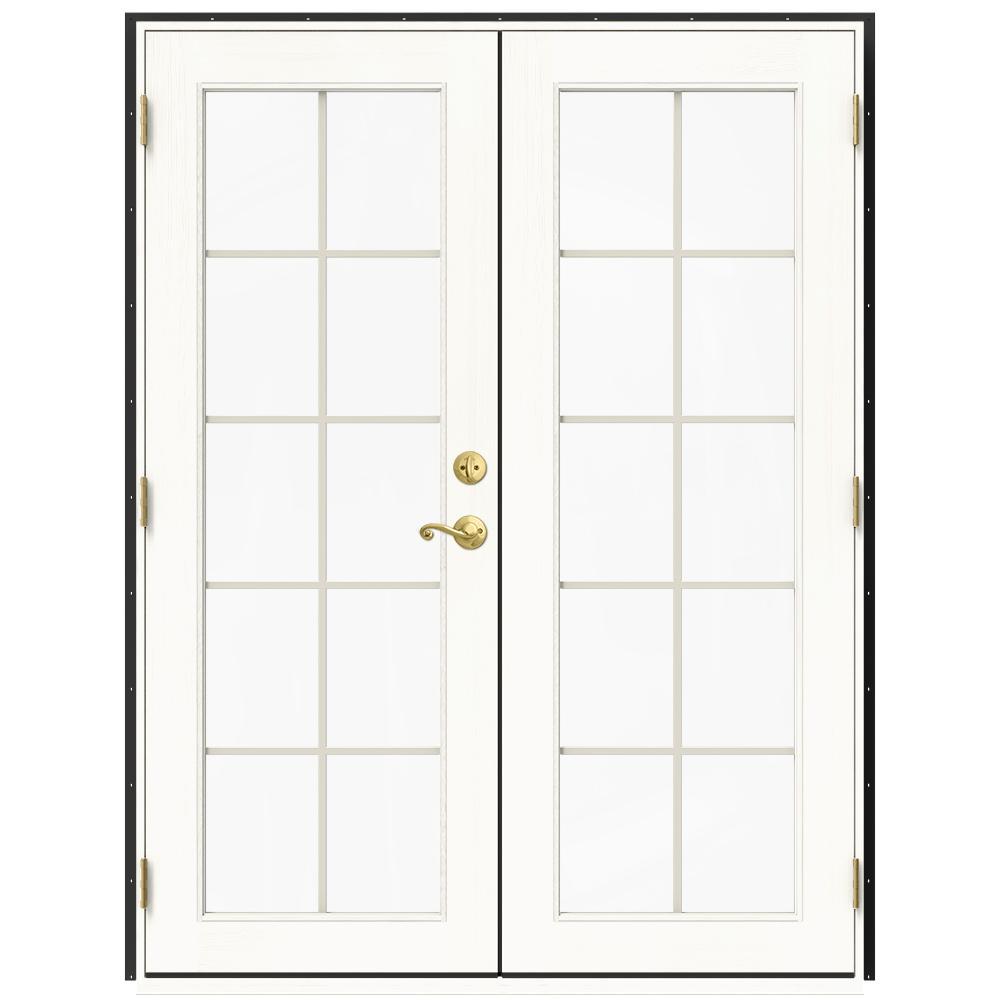 jeld wen 60 in x 80 in w 2500 bronze clad wood right hand 10 lite french patio door wwhite paint interior thdjw221900222 the home depot - 60 Patio Door