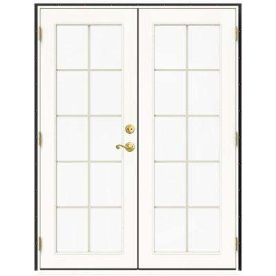 59.5 in. x 79.5 in. W-2500 Chestnut Bronze Right-Hand Inswing French Wood Patio Door