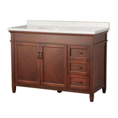 Ashburn 49 in. W x 22 in. D Vanity in Mahogany with Right Drawers with Vanity Top in White