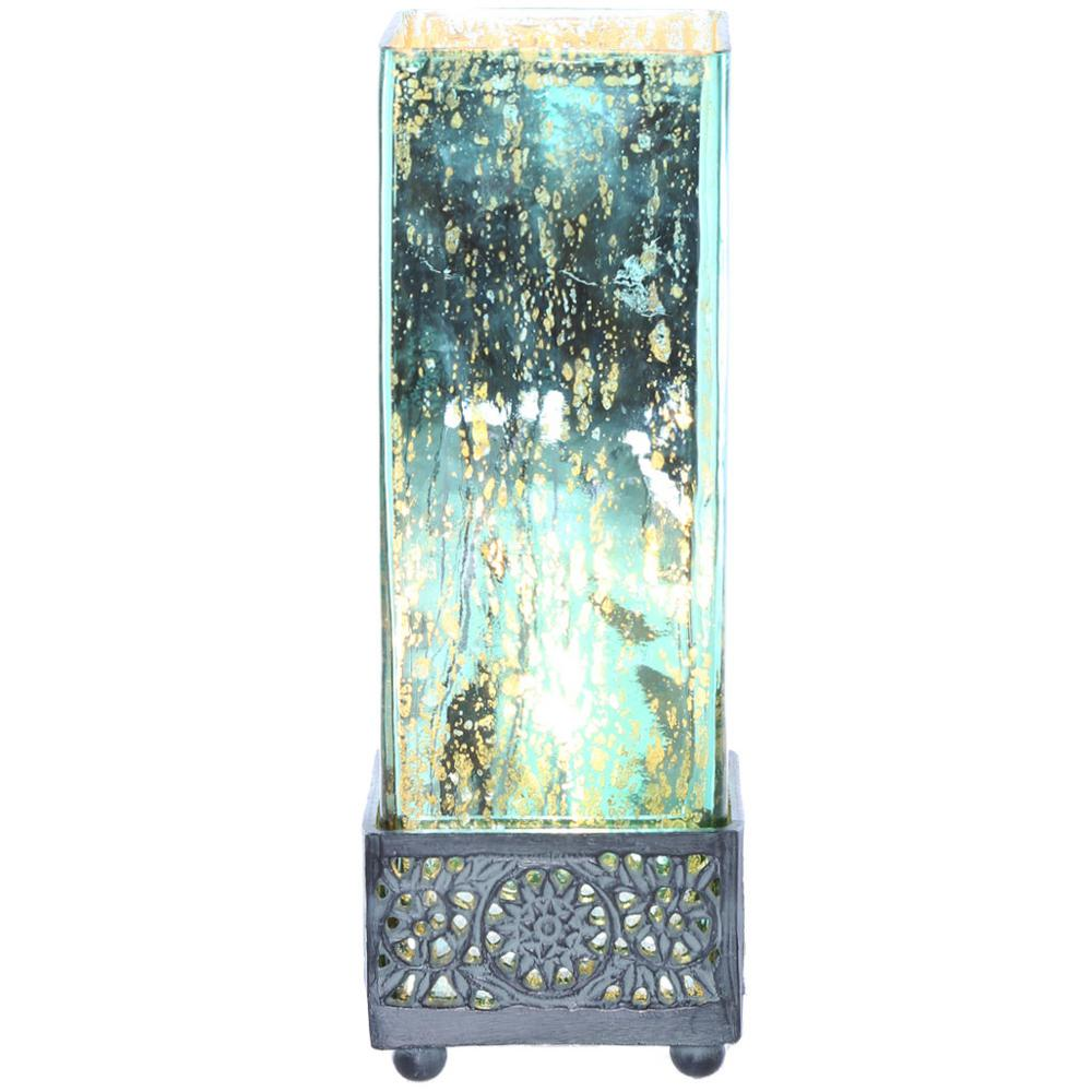 12.9 in. Teal Accent Lamp with Square Studio Art Mercury Glass
