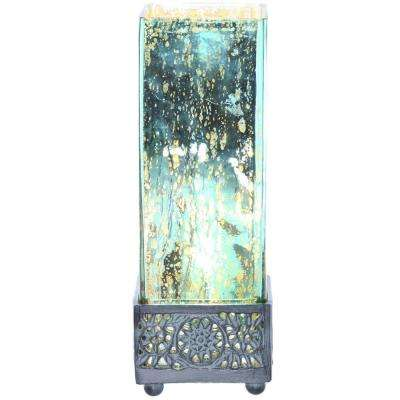 12.9 in. Teal Accent Lamp with Square Studio Art Mercury Glass Shade