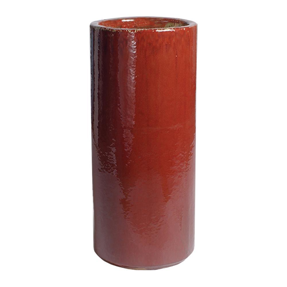 Tall Red Ceramic Round Pot 0961rd
