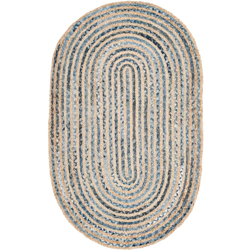 Safavieh Cape Cod Natural/Blue 3 ft. x 5 ft. Oval Area Rug