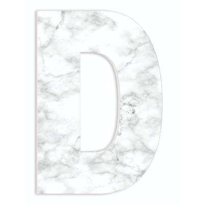"""12 in. x 18 in. """"Modern White and Grey Marble Patterned Initial D"""" by Artist Daphne Polselli Wood Wall Art"""