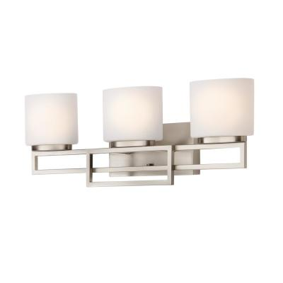 3-Light Brushed Nickel Bathroom Vanity Light with Opal Glass Shades