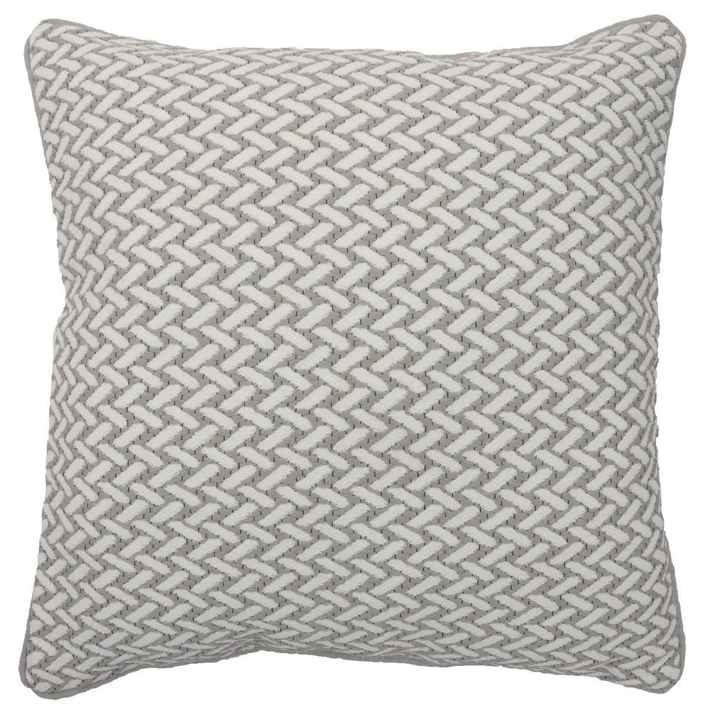 Grey Herringbone Outdoor Throw Pillow