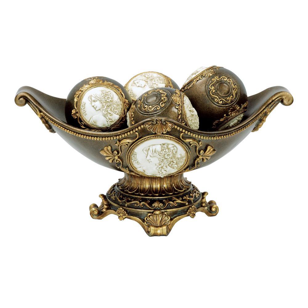Bronze Cameo Polyresin Decorative Bowl