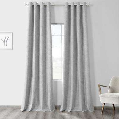 Millennial Grey Gray Vintage Thermal Cross Linen Weave Max Blackout Grommet Curtain - 50 in. W x 120 in. L (1 Panel)