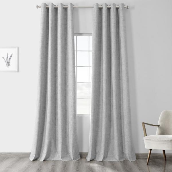 Millennial Grey Gray Vintage Thermal Cross Linen Weave Max Blackout Grommet Curtain - 50 in. W x 84 in. L (1 Panel)
