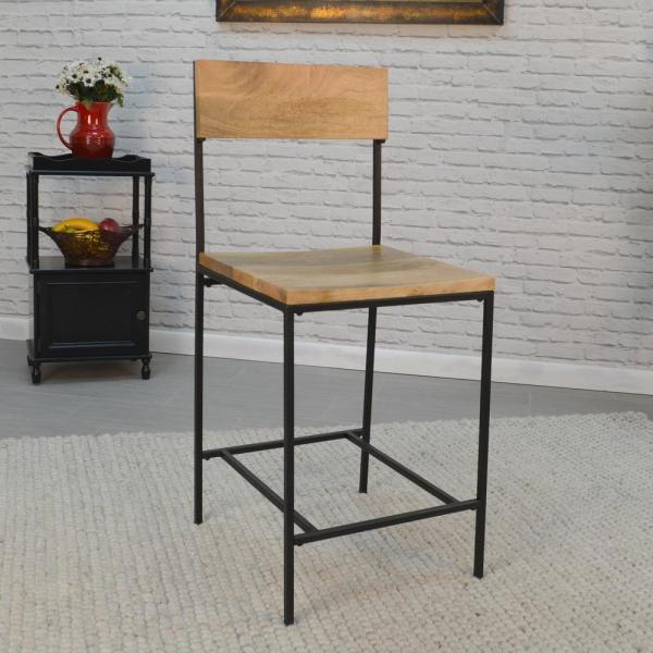 Carolina Cottage Berkshire 24 in. Chestnut and Black Bar Stool 2024NMNGTBK