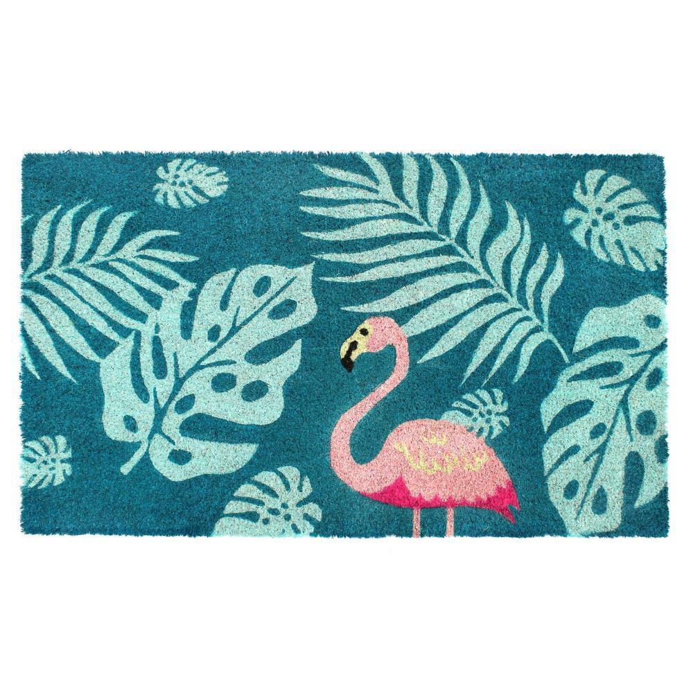 Pink 18 in. x 30 in. Palm Leaves Flamingo Coir Doormat