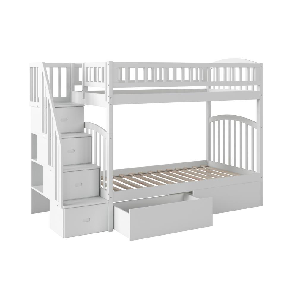 Atlantic Furniture Westbrook White Twin Over Twin Staircase Bunk With 2 Urban Bed Drawers Ab65642 The Home Depot
