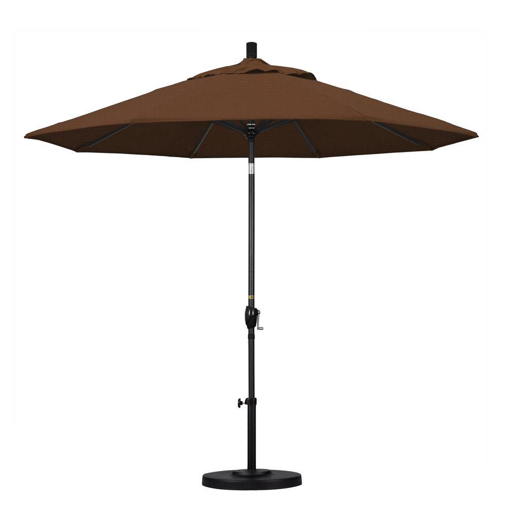 9 ft. Aluminum Push Tilt Patio Umbrella in Teak Olefin