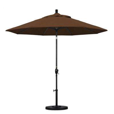 9 ft. Aluminum Push Tilt Patio Umbrella in Teak Olefin