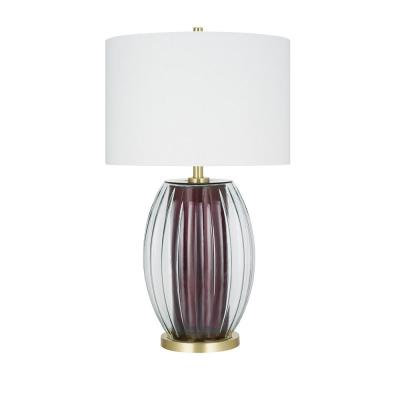 Cresswell 31.5 in. Burgundy Transitional Table Lamp and LED Bulb
