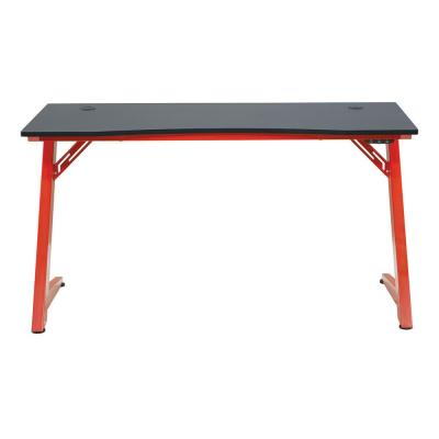 Matte Black Beta Battlestation Gaming Desk with Carbon Top and Red Legs
