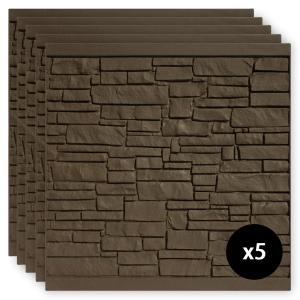 6 ft. x 6 ft. EcoStone Dark Brown Composite Fence Panel Pack