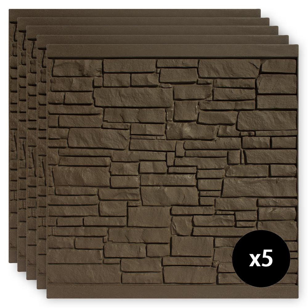 6 ft. x 6 ft. EcoStone Dark Brown Composite Fence Panel
