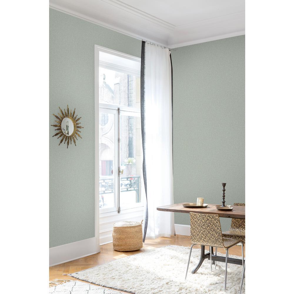 Teal Blue Linen Plain Wallpaper