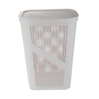 60 Liter Ivory Perforated Plastic Dirty Clothes Storage Basket with Lid