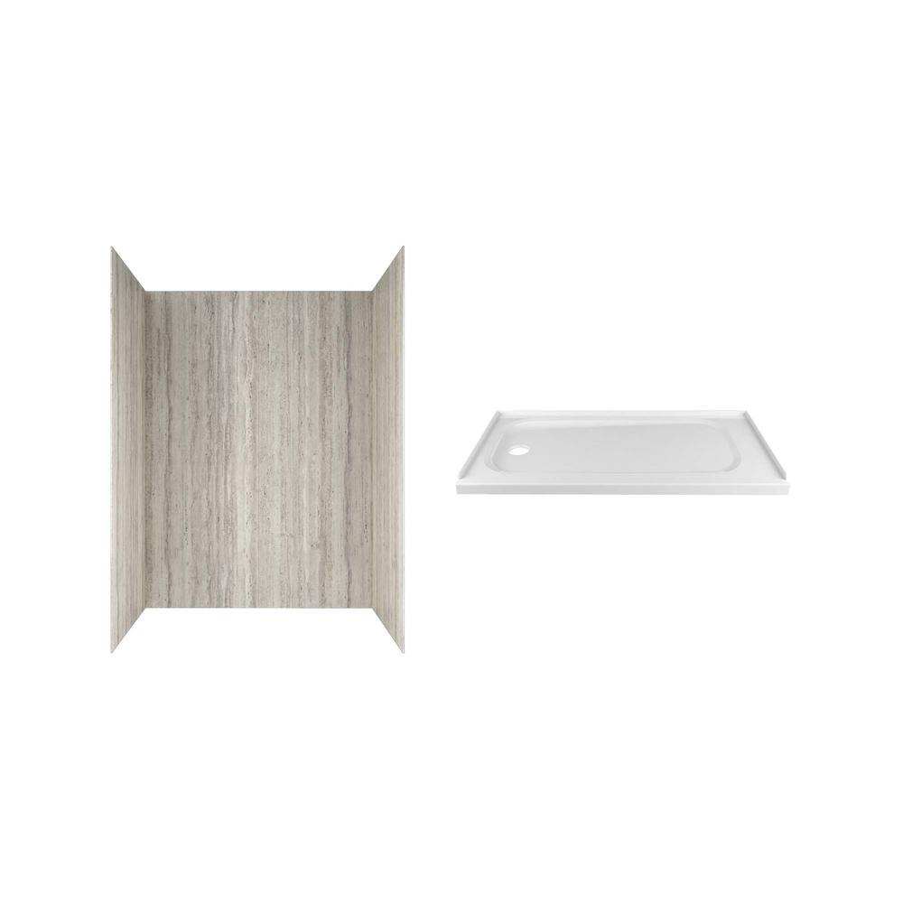 American Standard Passage 60 in. x 72 in. 2-Piece Glue-Up Alcove Shower Wall and Base Kit with Left Hand Drain in Pewter Travertine