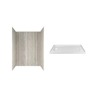 Passage 60 in. x 72 in. 2-Piece Glue-Up Alcove Shower Wall and Base Kit with Left Hand Drain in Pewter Travertine