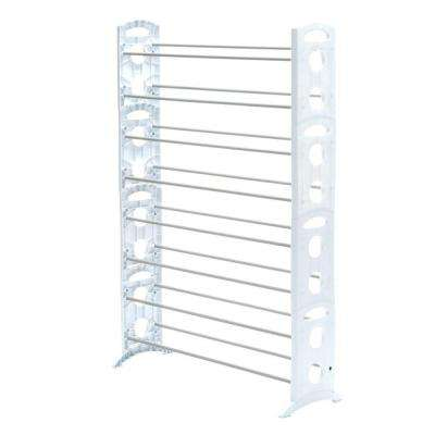 Shoe Rack Collection 35.31 in. x 62.24 in. 50-Pair Resin Floor Shoe Organizer