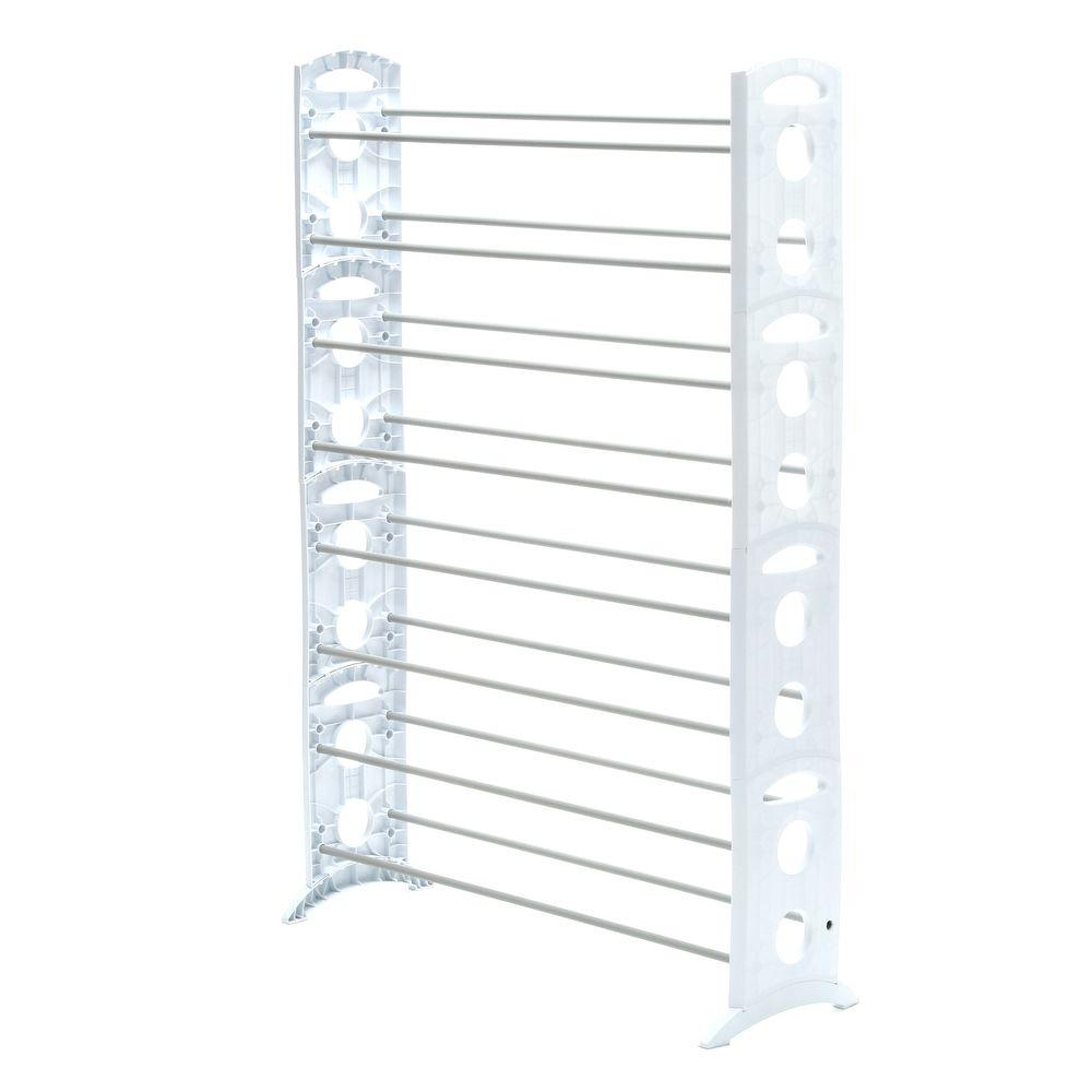 Uncategorized Tower Shoe Rack whitmor shoe rack collection 35 31 in x 62 24 50 pair resin floor tower 6486 1917 wht the home depot