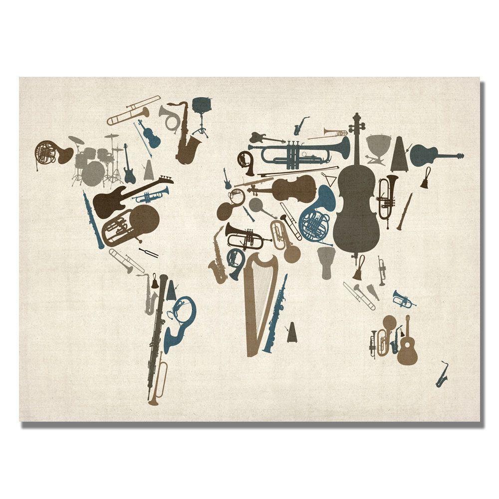 Trademark Fine Art 18 in. x 24 in. Instument World Map Canvas Art