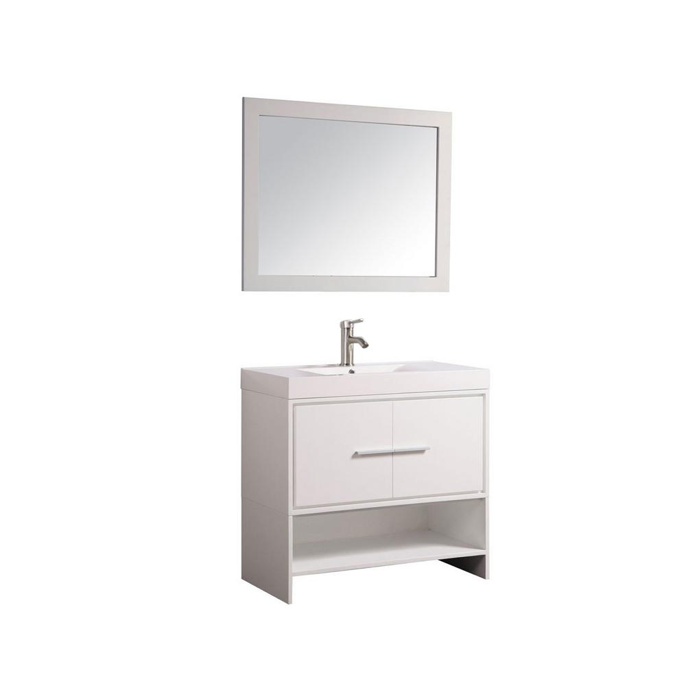 MTD Vanities Cypress 36 in. W x 18 in. D x 36 in. H Vanity in White with Acrylic Vanity Top in White with White Basin and Mirror