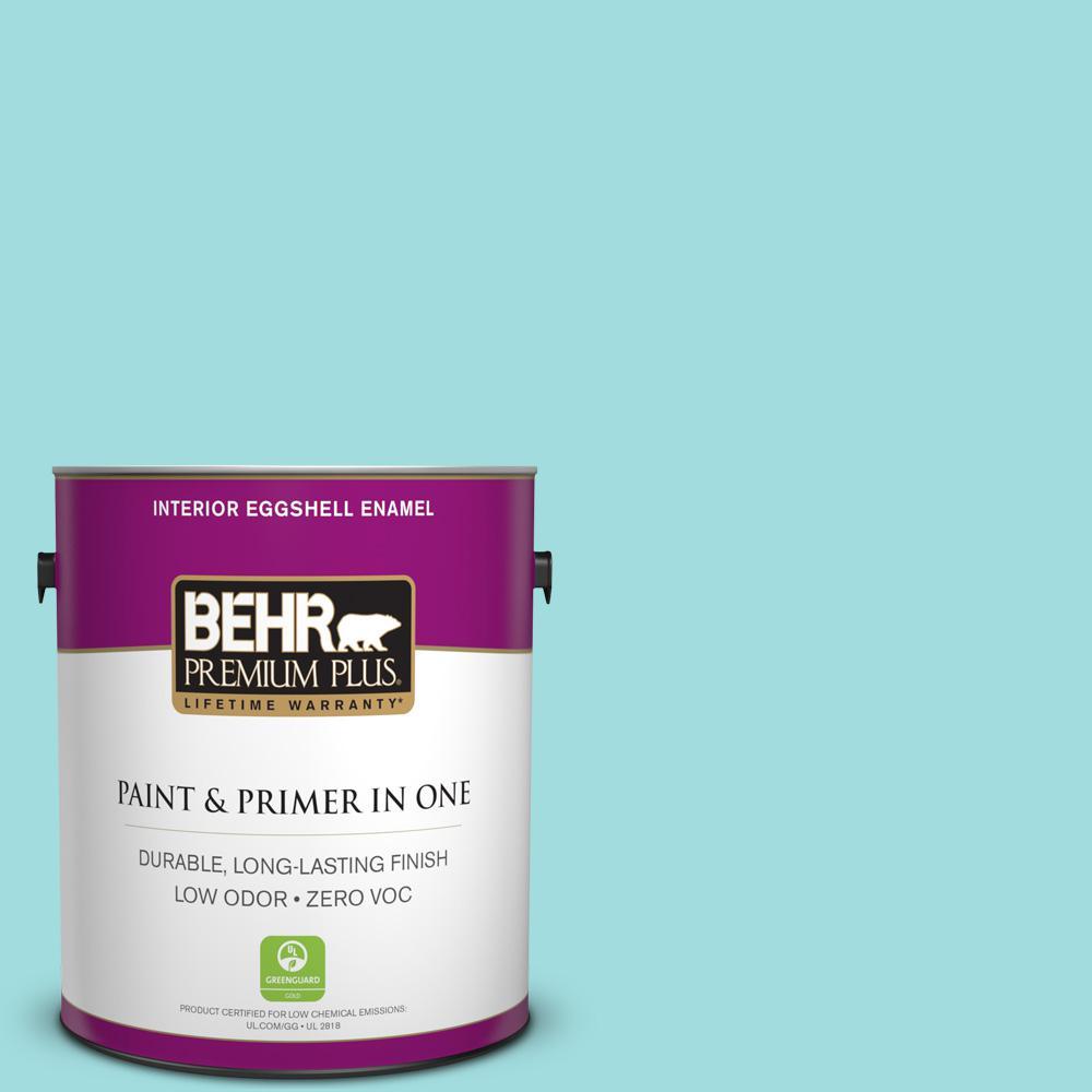 BEHR Premium Plus 1-gal. #500A-3 Aqua Spray Zero VOC Eggshell Enamel Interior Paint