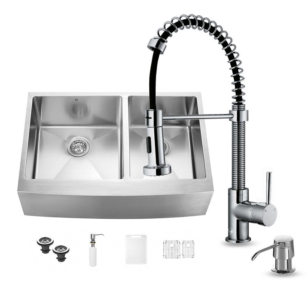 Kitchen Sink Set: VIGO All-in-One Farmhouse Apron Front Stainless Steel 33