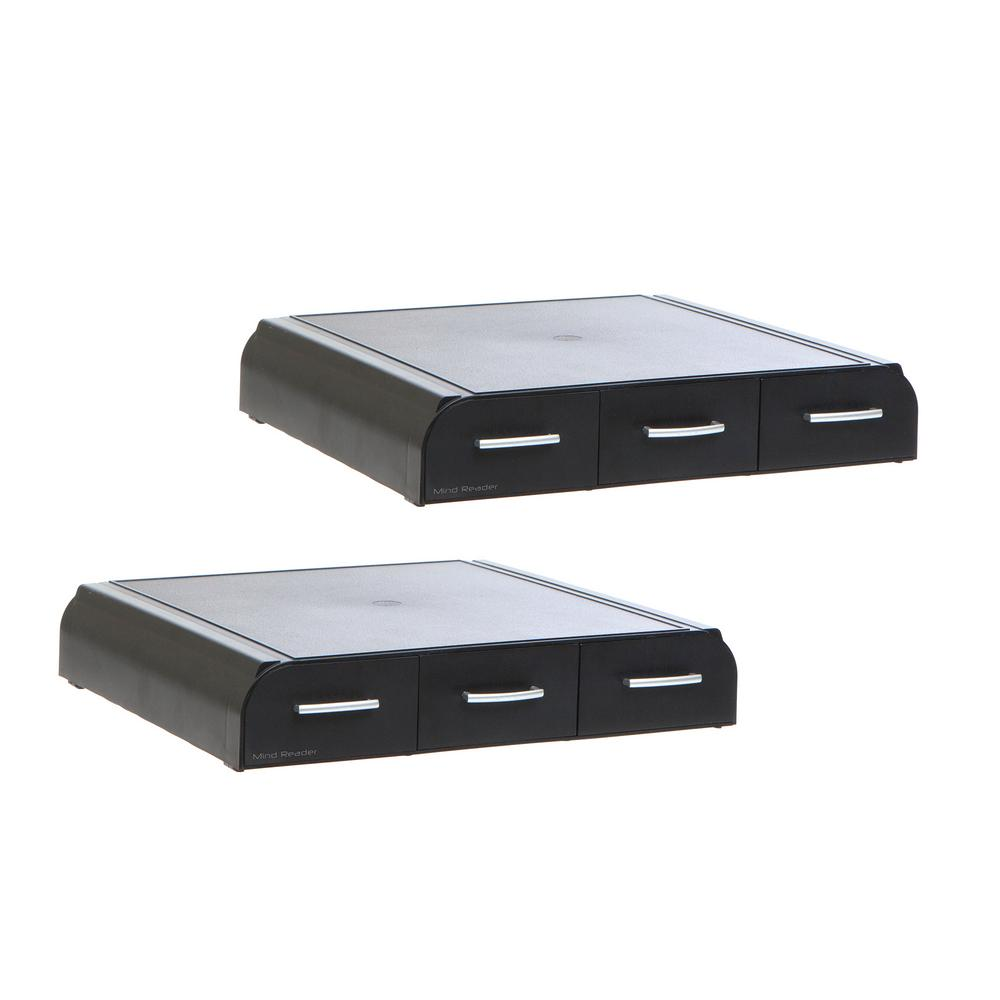 Monitor Stand for Laptop and Desktop with 3-Storage Drawers, Black (2-Pack)