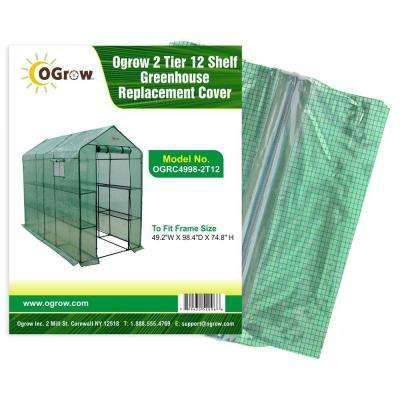 49.2 in. W x 98.4 in. D x 74.8 in. H 2-Tier 12 Shelf Greenhouse PE Replacement Cover