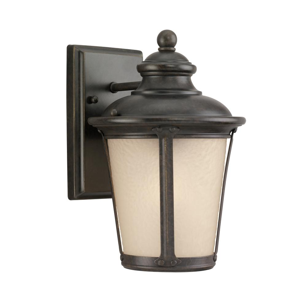 Cape May 1-Light Burled Iron Outdoor Integrated LED Wall Mount Lantern