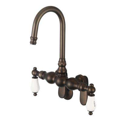 2-Handle Wall-Mount Claw Foot Tub Faucet with Labeled Porcelain Lever Handles in Oil Rubbed Bronze