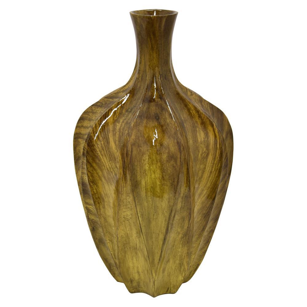 16.75 in. Vase Wood Look Brown