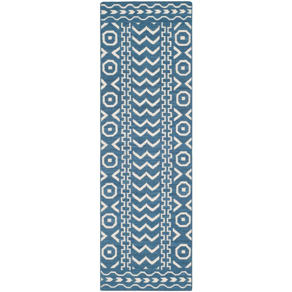Dhurries Dark Blue/Ivory 3 ft. x 6 ft. Runner Rug