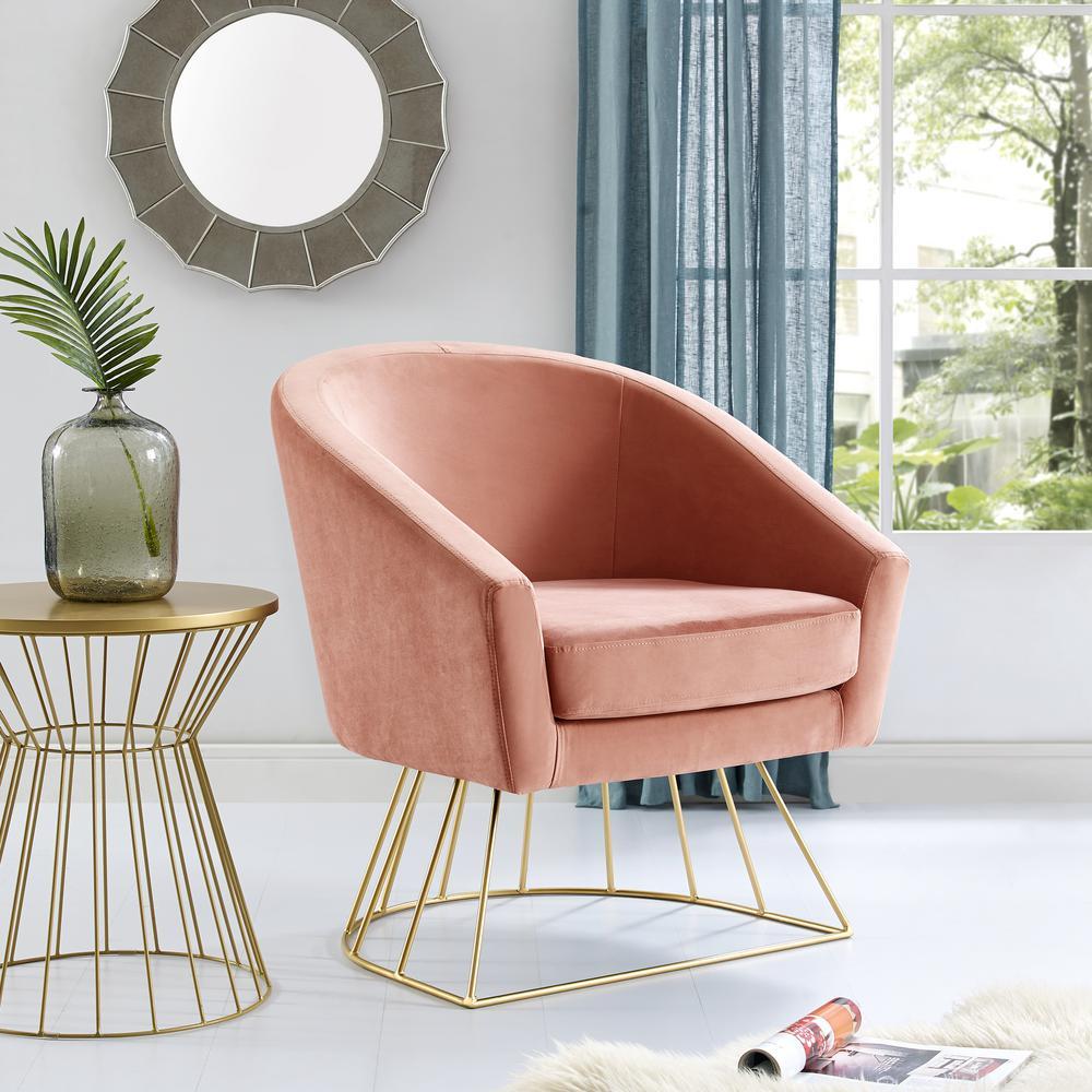 Esmeralda Velvet Blush/Gold Modern Contemporary Barrel Accent Chair with Metal Base