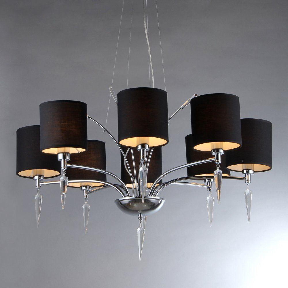 Warehouse Of Tiffany Branch 8 Light Chrome Chandelier With Black Shades