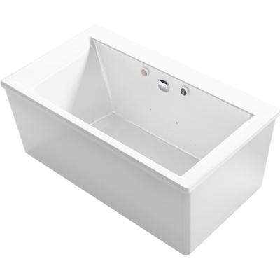 Stargaze 60 in. Acrylic Flatbottom Air Bath Bathtub with Straight Shroud and Basked Heated Surface in White