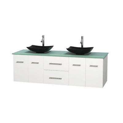 Centra 72 in. Double Vanity in White with Glass Vanity Top in Green and Black Granite Sinks