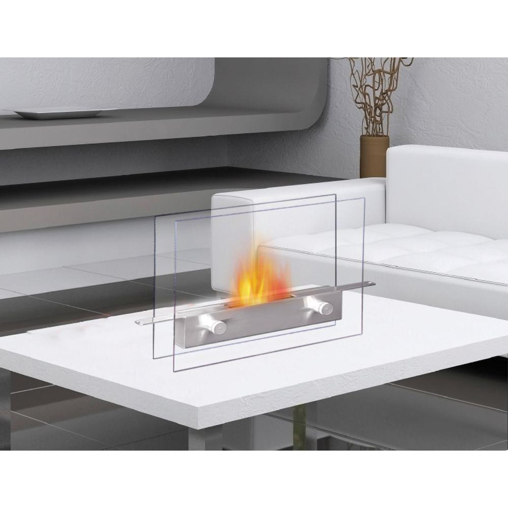 Anywhere Fireplace Metropolitan Tabletop Vent-Free Ethanol Fireplace in Stainless Steel/Tempered Glass