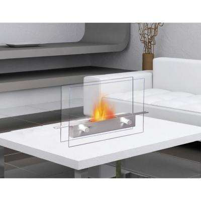 14 in. Metropolitan Tabletop Vent-Free Ethanol Fireplace in Stainless Steel/Tempered Glass