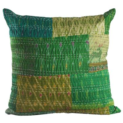 Kantha Green Graphic Hypoallergenic Polyester 20 in. x 20 in. Throw Pillow