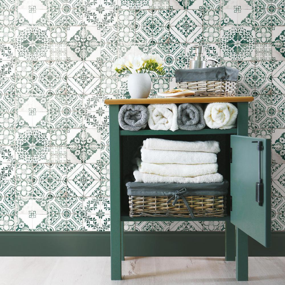 Roommates Teal Mediterranean Tile Vinyl Peelable Wallpaper Covers 28 18 Sq Ft Rmk11281wp The Home Depot