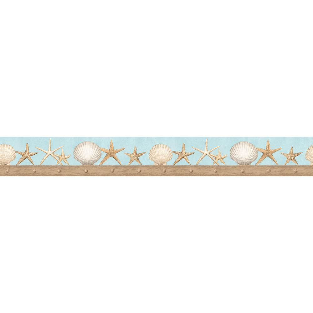 The Wallpaper Company 4.75 in. x 15 ft. Blue and Tan Seashell Border-DISCONTINUED