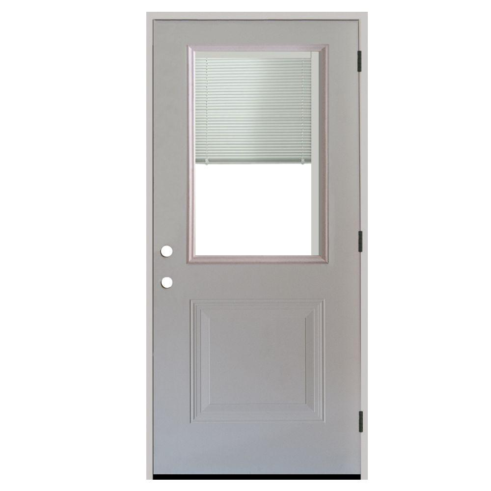 Steves & Sons 36 in. x 80 in. 1-Panel 1/2 Lite Mini-Blind Primed White Steel Prehung Front Door